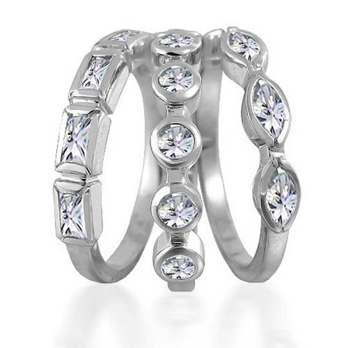 - 3 Set Geometric Cubic Zirconia Baguette Marquise Round CZ Stackable Wedding Band Ring Set For Women 925 Sterling Silver
