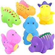 TOYVIP Little Dinosaur Squirts Fun Bath Toys, Assorted Colors, 6 Piece