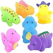 TOYVIP Little Dinosaur Squirts Fun Bath Toys, Assorted Colors, 6 Piece