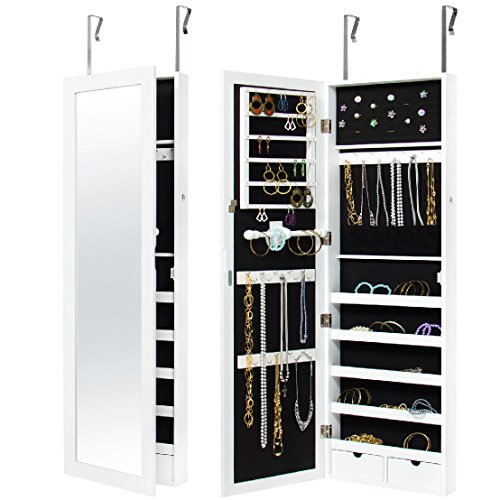 Mirrored Hanging Jewelry Cabinet Armoire Organizer Wall Mount W/ Keys- White by BEC