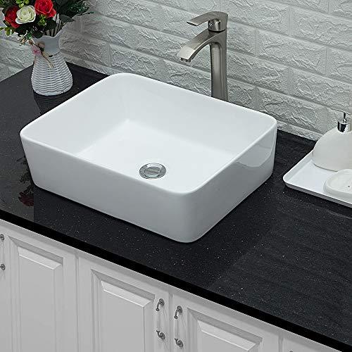 "Lordear 19""x15"" Modern Bathroom Rectangle Above White Porcelain Ceramic Vessel Vanity Sink Art Basin& Brushed Nickel Faucet Combo"