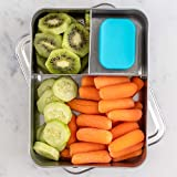 WeeSprout 18/8 Stainless Steel Bento Box (Large) - 3 Compartment Metal Lunch Box, for Kids & Adults, Bonus Dip Container, Fit