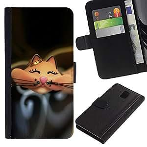 Planetar® Modelo colorido cuero carpeta tirón caso cubierta piel Holster Funda protección Para SAMSUNG Galaxy Note 3 III / N9000 / N9005 ( Cartoon Cute Happy Black )