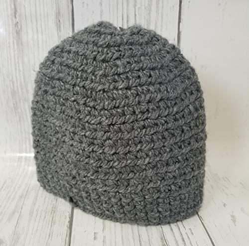 Crochet Beanie Grey Chunky with Brim