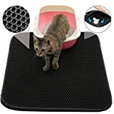 "FOCUSPET Cat Litter Mat Cat Litter Trapper, Large Size 30"" X 22"", Double Waterproof Layer Honeycomb Design, Best Scatter Control, Easy Clean Traps Litter Pan from Box and Paws"