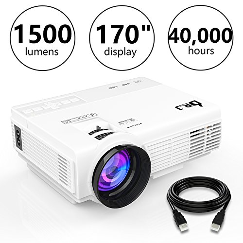 DR.J 4Inch Mini Projector with 170 Inch Display - 40,000 Hour LED Full HD Video Projector 1080P, Compatible with Amazon Fire TV Stick, HDMI, VGA, USB, AV, SD (1.5M HDMI Cable)