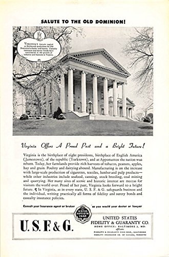 Print Ad 1946 United States Fidelity   Guaranty Salute To The Old Dominion
