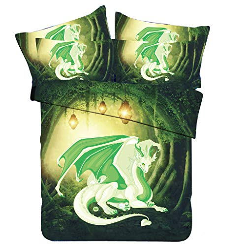 (3Pcs Bedding Set,3D Dragon on The Castle Print Bedclothes Suit for Living Room Bedroom Decor, Boho Quilt Cover/Pillowcases (E))