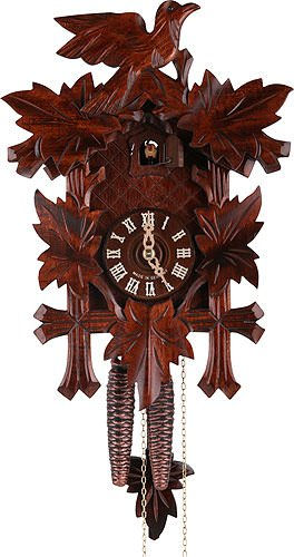 German Cuckoo Clock 1-day-movement Carved-Style 13.00 inch - Authentic black forest cuckoo clock by Hekas