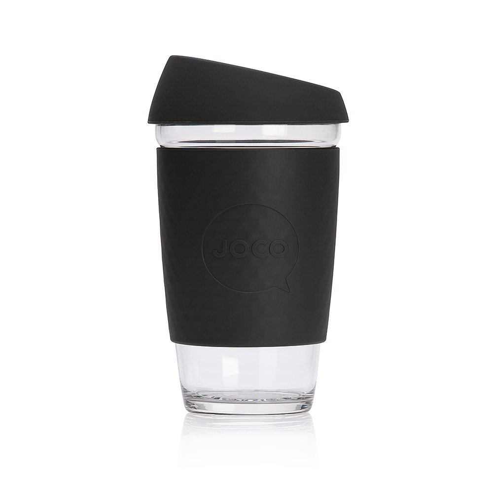 Amazon.com | JOCO 16oz Glass Reusable Coffee Cup (Black): Coffee Cups & Mugs