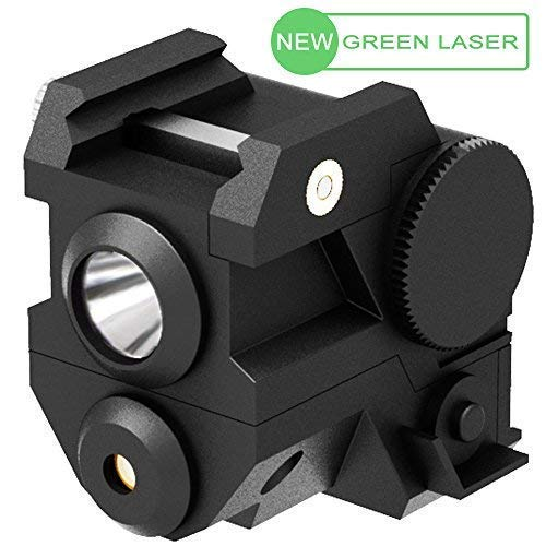 Laspur Mini Tactical Sub Compact Rail Mount Green Laser Sight with High Lumen CREE LED Flashlight Light Integrated Combo with Strobe for Pistol Rifle Handgun Gun, ()