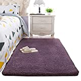 Super Soft Gary Purple Area Rug Kids Rugs Artic Velvet Mat with Plush and Fluff for Bedroom Floor Bathroom Pets Home Hotel Mat Rug (3' x 5', Gary Purple)
