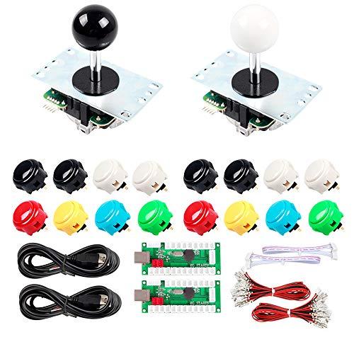 Sanwa Joystick Buttons EG STARTS 2 Player USB Arcade Stick Kit DIY Bundle CompatibleVideo Games Raspberry Pi RetroPie DIY Projects & Mame Jamma Parts White / Black Stick 16x OBSF-30 MIX Colors Buttons