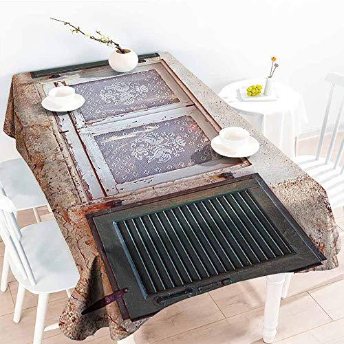 familytaste Table Cloth for Outdoor Picnic,Shutters Decor Collection,Mediterranean Cottage with Antique Window Shutter Print Greece Island Image Home Decor,Grey Green 52