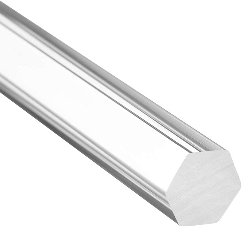 sourcing map 12mmx12mmx250mm Clear Solid Acrylic Hexagon Rod PMMA Bar 2pcs