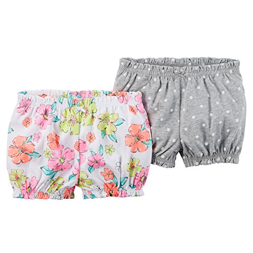 Carter's Baby Girls' 2 Pack Bubble Shorts (3 Months, Floral/Grey Dot)
