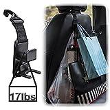 USHOT 2PCS car headrest Multi-Function Hook 2pcs Universal Auto Car Vehicle Seat Grocery Bag Hanger Hook Holder Black