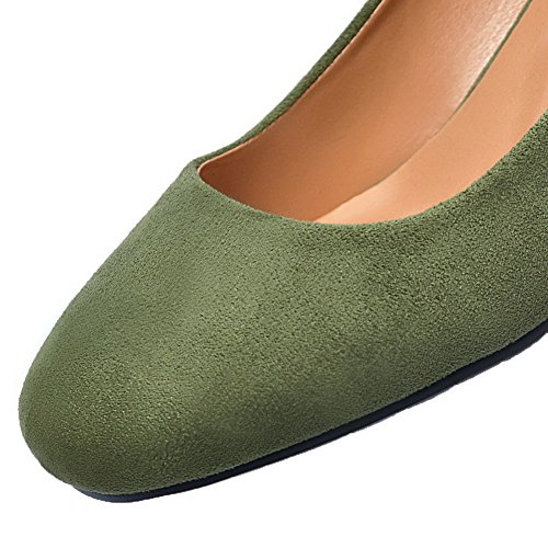 Green Round Closed Heels Toe Pull Frosted On Kitten WeenFashion Solid Shoes Pumps Women's g07B8B