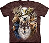 The Mountain Men's Northern Wildlife Collage T-Shirt, Brown, X-Large
