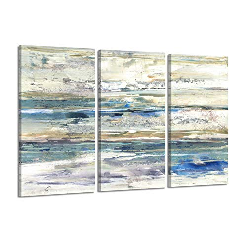 Hardy Gallery Abstract Seascape Coastal Artwork - Sunrise with Seagrass in White, Grey, Blue, Gold, and Gray Triptych Prints on Canvas for Wall Arts