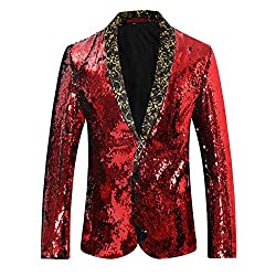 Slim Fit Shawl Collar Sequins Dance Blazer