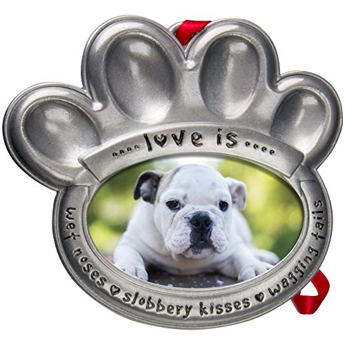 (Pewter Pet Paw Photo Ornament)