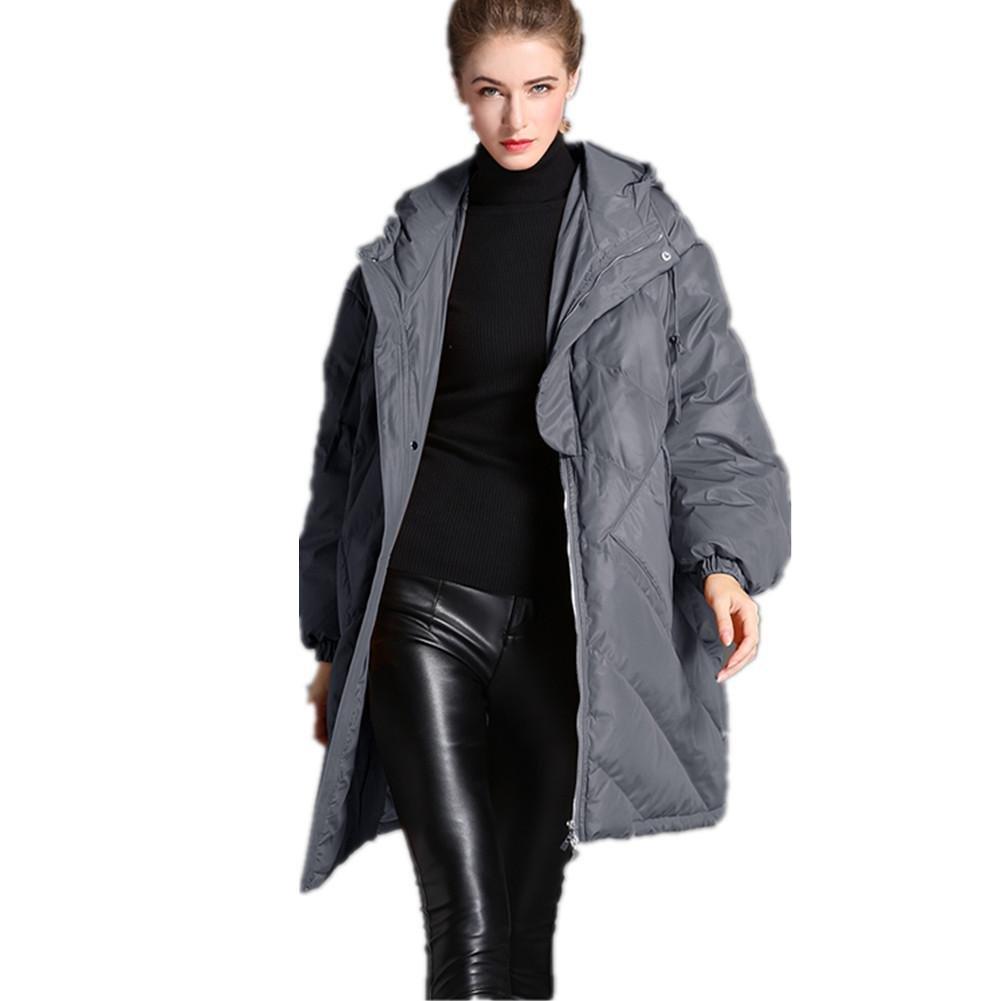 SHISHANG Invierno nuevo abrigo para mujer suelto gran código con capucha chaqueta 91% -95% dos color...