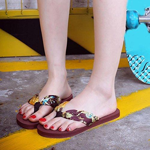 sandalias mujer planas verano 2017 Switchali moda zapatos mujer tacon fiesta atractivo casual Sandalias de vestir floral Zapatos de playa Básico Chanclas para mujer baratos Marrón