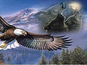 where eagles fly - Art Print on Canvas (40x60 CM, unframed)