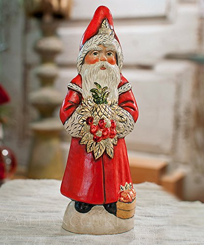 Vaillancourt Chalkware Santa - Santa with Apples & Pineapple