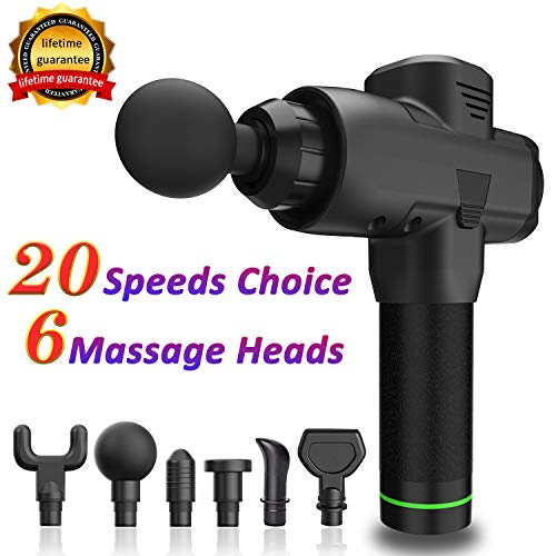 Electric Massage Gun Device,Deep Tissue Professional Muscle Massager for Pain Relief,Handheld Cordless 20 Speed Strength Levels Body Massager for Soreness Relieves,Back Massagers w Carry Case Black