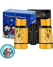 Kid Binoculars High Resolution Best Gifts for 3-12 Years Boys Girls Optics Shockproof Mini Compact Binocuolar Toys Folding Small Telescope for Bird Watching Camping Outdoor Play (Orange)