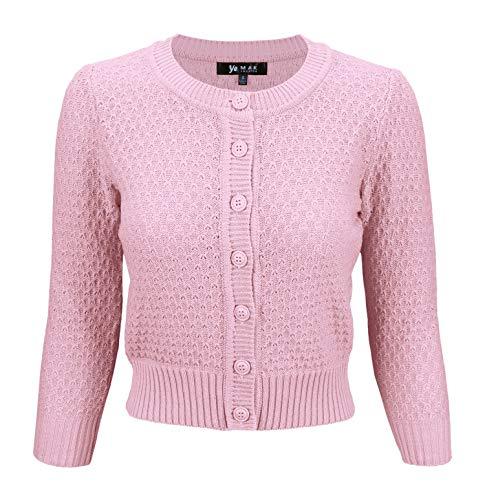 YEMAK Women's 3/4 Sleeve Crewneck Cropped Button Down Knit Cardigan Sweater MK3514-LPK-XL Light -