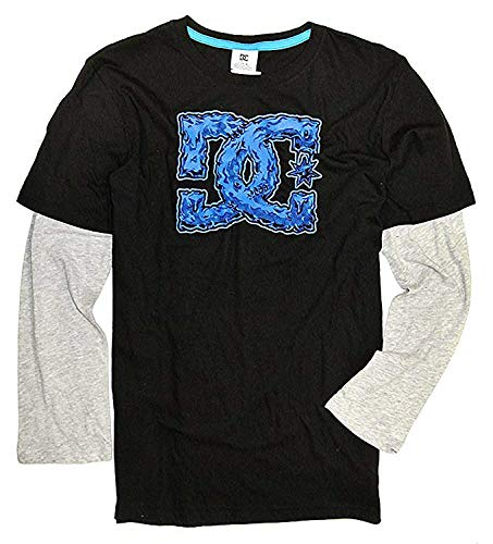 DC Shoes Co Boys' Long-Sleeve Graphic Layered Tee (Black/Blue) (18/20)