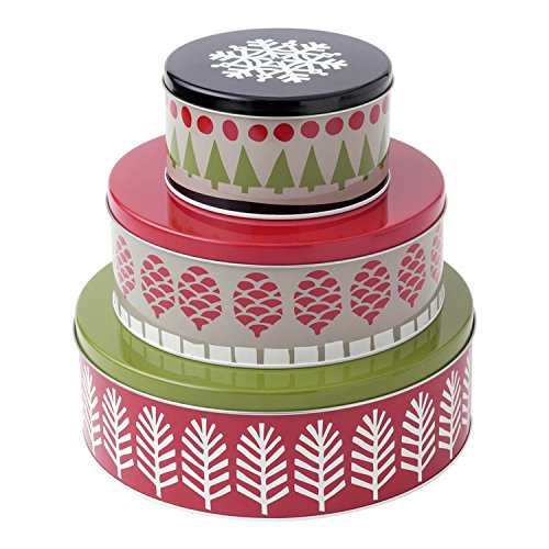 Hallmark Home Holiday Round Nesting Tins (Set of 3), Red, Green, and Black Patterned (Nesting Tins)
