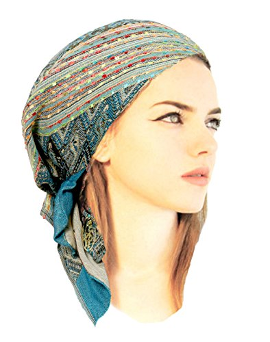 Boho Chic Pre-tied Headwear Versatile Ties Cool Knit Pashima Ethnic Print Collection (Teal short - 290)