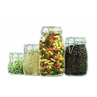 Anchor Hocking 4-Piece Round Glass Canister Set with Clamp Top Lid