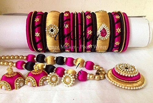 4277205cef141 Black,pink and gold silk thread indian fashion jewellery set: Amazon ...
