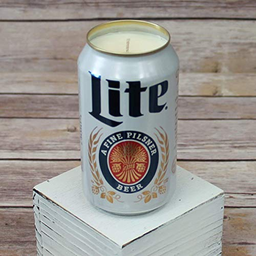 - Miller Lite Beer Can Soy Candle with Custom Scent in 12oz Aluminium