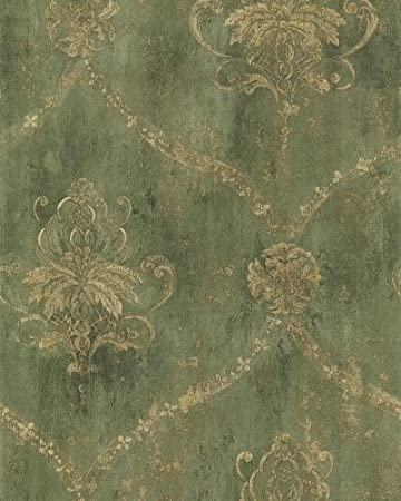 Large Gold Damask On Green Faux Background Wallpaper