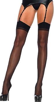 724647c1ed753d Leg Avenue Damen plus size Straps Strümpfe aus Nylon schwarz transparent  Größe ca. 42