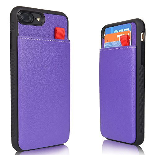 MANGATA Triton Leather Wallet case Compatible iPhone 8 Plus, iPhone 7 Plus | Hidden Wallet Pocket, Rugged Shell | Cruelty Free Leather | Credit Card Holder, Cash Pocket, Screen Protector (Purple Leather Cell Phone)
