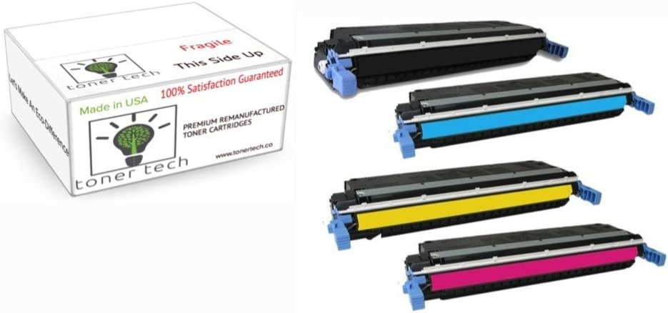 Toner Tech- High Yield Remanufactured OEM Toner Cartridge Replacement (C9730, C9731, C9732, C9733) for HP 645A/HP 5500 (Complete Set)
