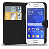 Samsung Galaxy Ace 4 - Leather Wallet Flip Case Cover Pouch + Screen Protector & Polishing Cloth