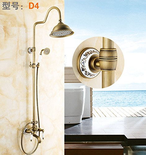 D Gyps Faucet Basin Mixer Tap Waterfall Faucet Antique Bathroom Mixer Bar Mixer Shower Set Tap antique bathroom faucet Antique Shower Faucet Kit Full copper antique and cold water taps showers taps C,M