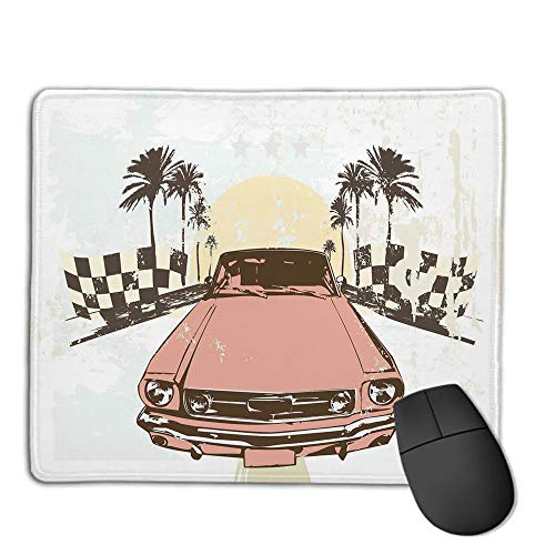 Mouse Pad Bundle Stitched Edges Premium Waterproof Mouse Mat Pad,Grunge,Old Fashioned Car Auto Sport Checkers Palms Sun Retro Road Racing Speed,Coral Mint Green Yellow,Consoles More Enjoy Precise &