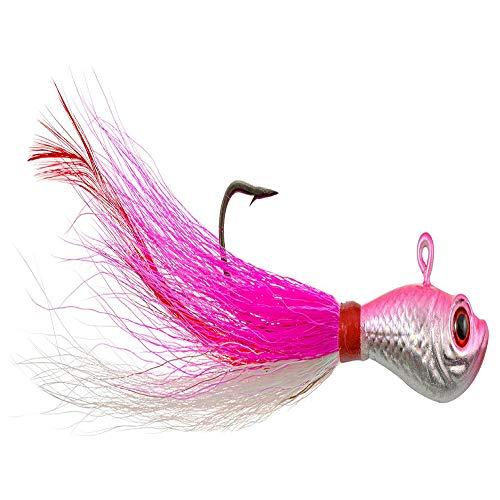*Hurricane 3D Eye-1.5 Oz SBJ3D-15-14 Bucktail Jig Pink/White/Reflective Body