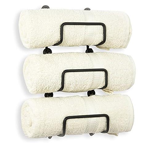 Wall Mount Towel Racks Durable Straight Finish Black Iron Set of 3