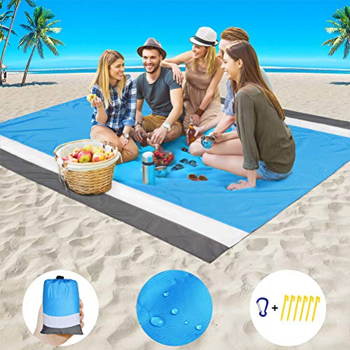Beach Blanket Sand Proof Beach Mat Sand Free Extra Large Oversized 9' x 7' for 7 Adults Waterproof Big & Compact Sandless Picnic Mat Quick Drying Nylon Lightweight with 6 Stakes & 4 Corner Pockets