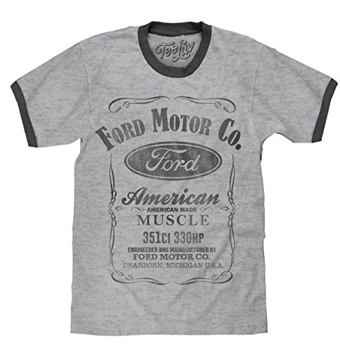 Muscle Mustang T-shirt - Tee Luv Ford Ringer T-Shirt - American Made Muscle Ford Shirt (Large)